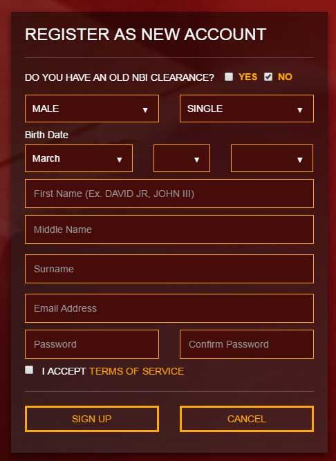 login to the NBI clearance website